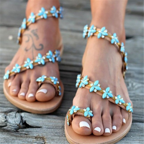 Flower   Rhinestone Toe Flat Sandals
