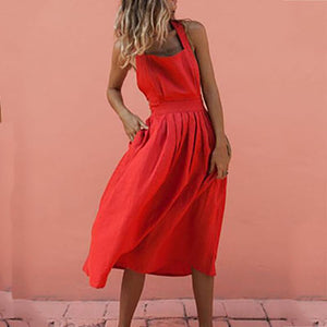 Casual Belted Bare Back Sleeveless Maxi Dresses