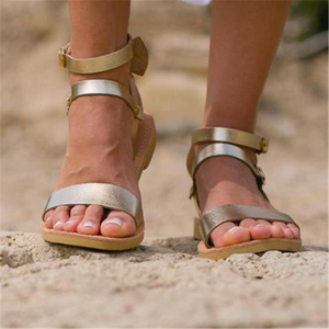 Fashion Flat   Openwork Buckle Sandals