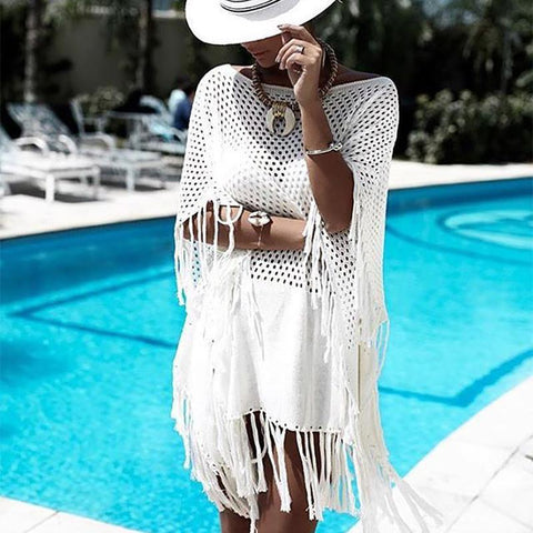 Casual Hollow Out Tassel Loose Beach Blouse