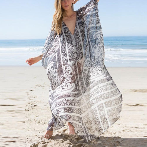 Stylish Bohemian Patchwork Print Loose Dress