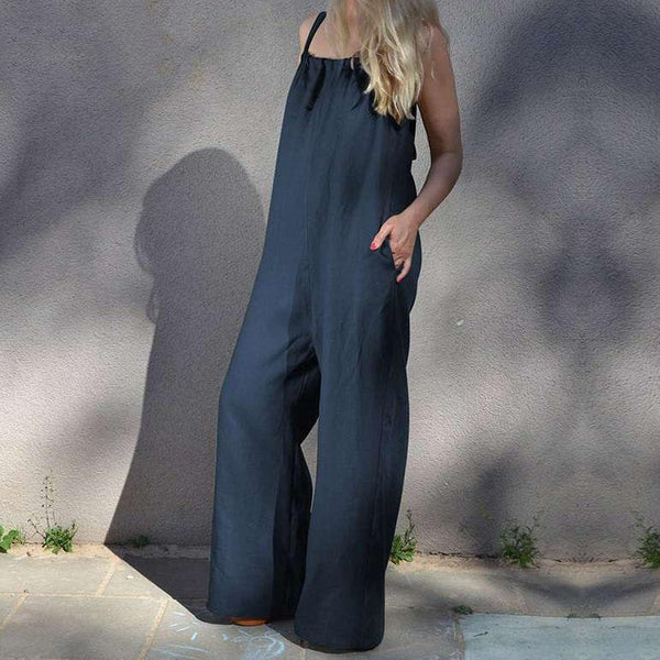 Fashion Sleeveless Casual Loose   Wide Leg Pants Jumpsuit