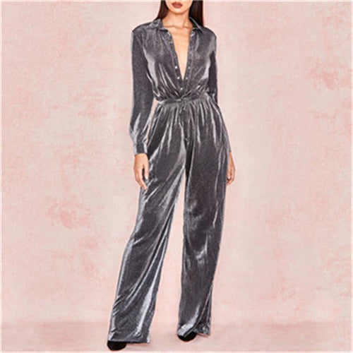 Sexy Low-Cut Reflective Light Casual Loose Jumpsuits