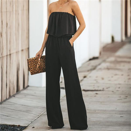 Fashion One Shoulder Pure Color Jumpsuits
