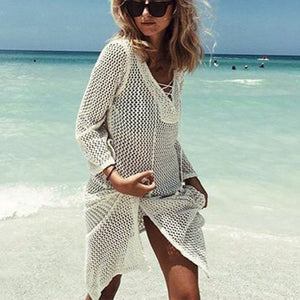Sexy Loose Solid Color Knit Hollow Out Shirt