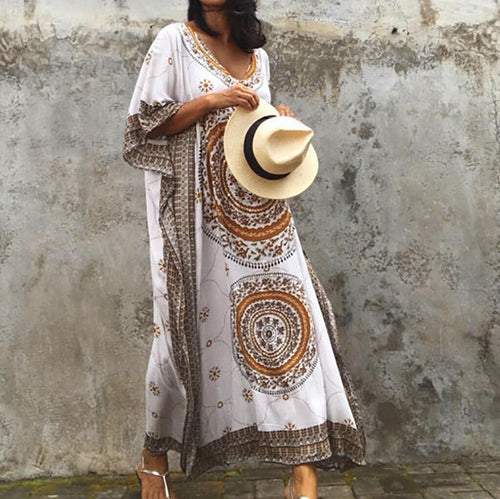 Long Location-Printed Gown Blouse
