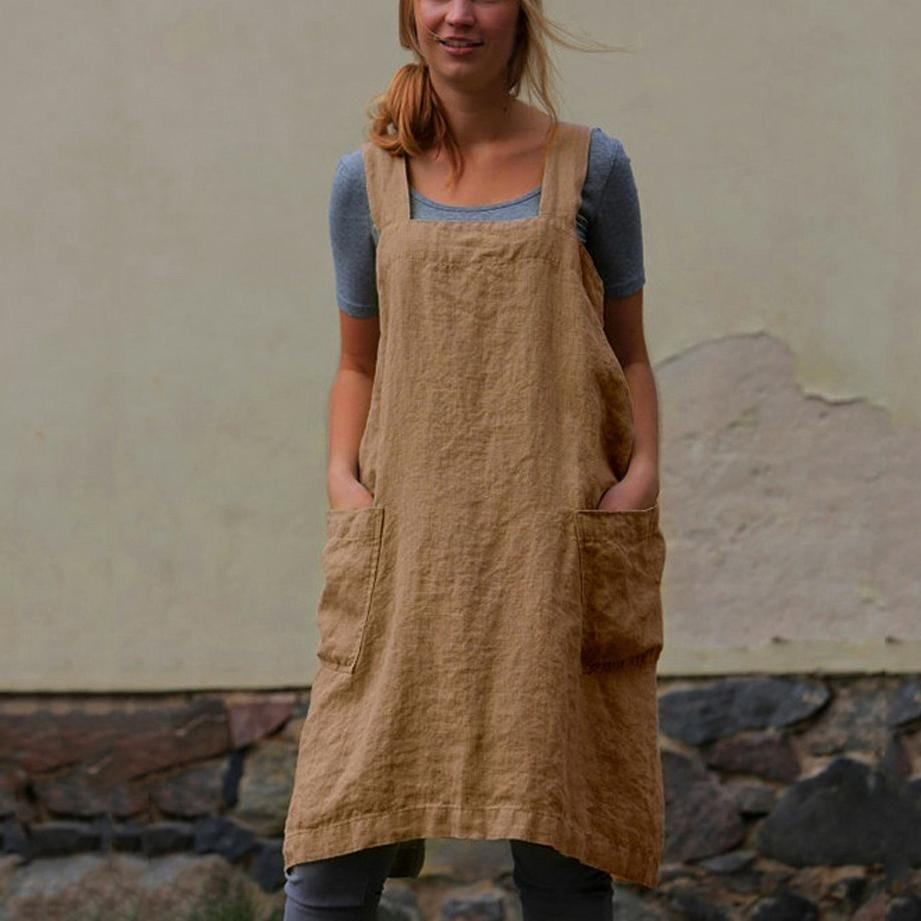 Loose Home Pocket Cotton And Linen Strap Dress