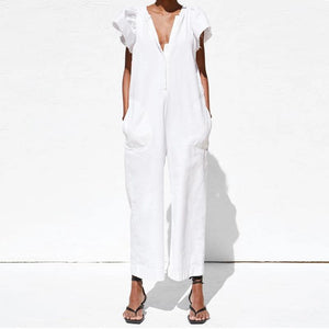V-Neck Ruffled Pocket Cool Girl Jumpsuit