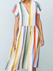 Casual V Neck Short Sleeve Pleated Contrast Color Stripe Dress