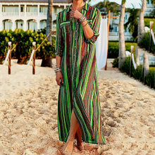 Striped Buttoned Down Holiday Maxi Dresses