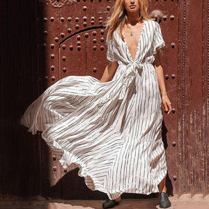 Casual Belted Deep V Neck Short Sleeve Loose Stripe Dress