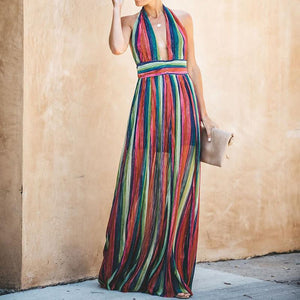 Sexy Stripe Sleeveless Long Dress