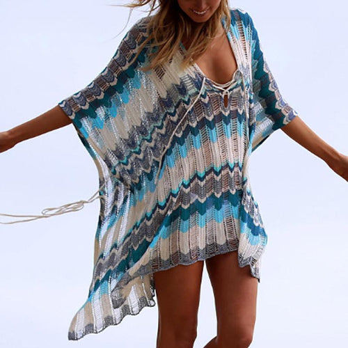 Bohemian Hollow Out Contrast Color Loose Belted Beach Pullover