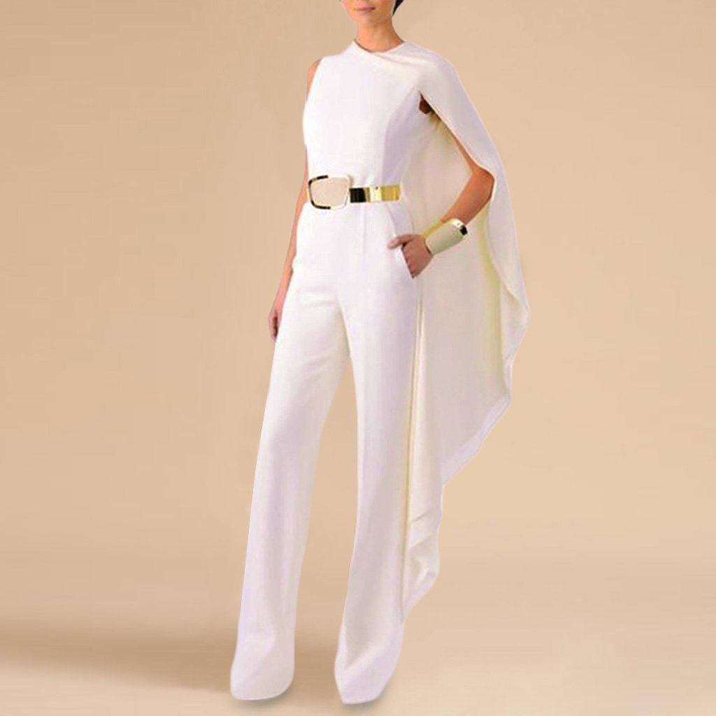 Fashion Sleeveless Pure Colour Belted Splicing Ponchos Jumpsuit