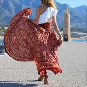 Bohemian Irregular Printed Colour Beach Elastic Pleated Skirt