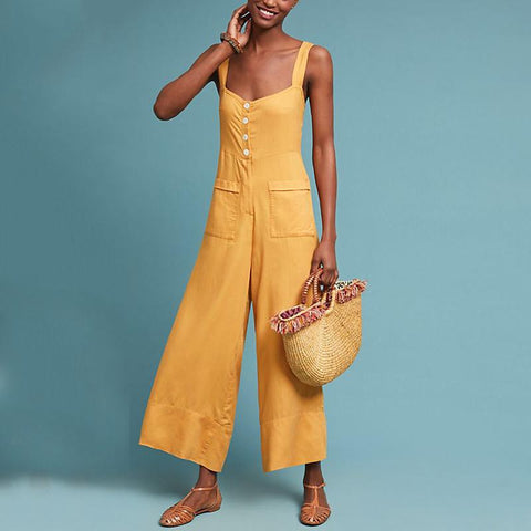 Commuting Sleeveless Off-Shoulder Bare Back Pure Colour Single-Breasted Jumpsuit