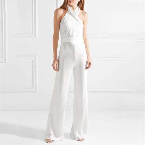 Sexy Halter White Sleeveless Wide Legs Jumpsuit