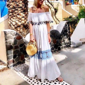 Boho Hollow-Carved Design One Shoulder Vacation Maxi Dress