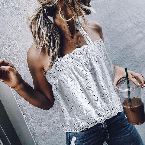 Nalabay Elegant Lace Hollow Out Boat Neck Inwrought Tank Top