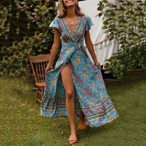 JOJORUBY Bohemian Big Pendulum V-Neck Beach Holiday Tie Printing Vacation Maxi Dress