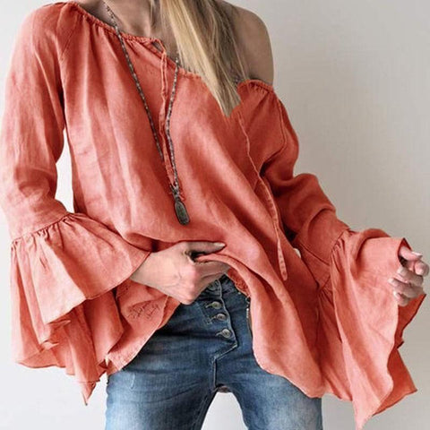 Solid Color Loose Horn Sleeve Top