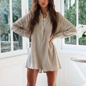 Stand-Up Collar Solid Color Long-Sleeved Jumpsuit