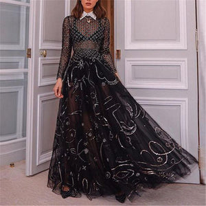 Sexy Perspective Mesh Long Sleeves Evening Dresses