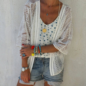 Bohemian Sun-Protective Hollow Out Halflong Sleeve Chiffon Cardigan