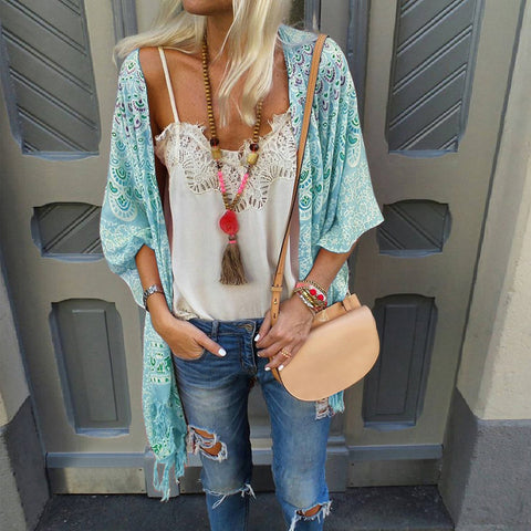 Boho Sun-Protective Printed Colour Halflong Sleeve Cardigan