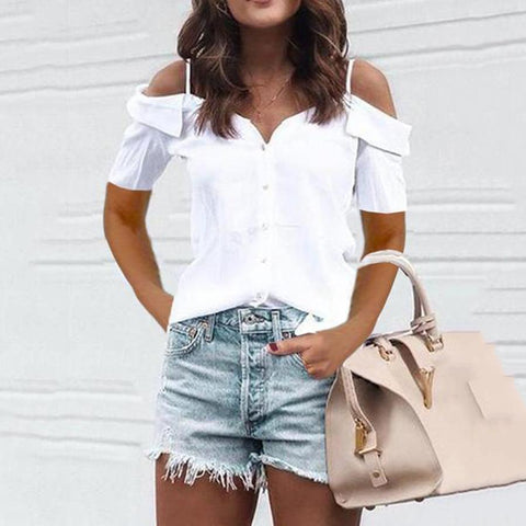 Spaghetti-Strap Off   Shoulder Solid Top