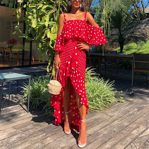 Boho Boat Neck Polka Dot Irregular Ruffled Splicing Vacation Dress