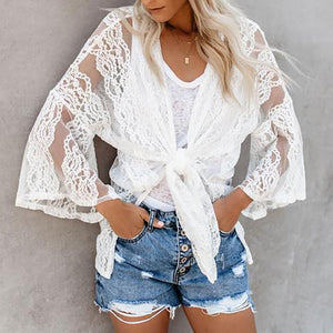 Elegant Lace Bell Sleeve See-Through Cardigan