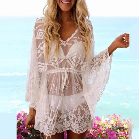 Boho See-Through Batwing Sleeve Lace Beach Pullover