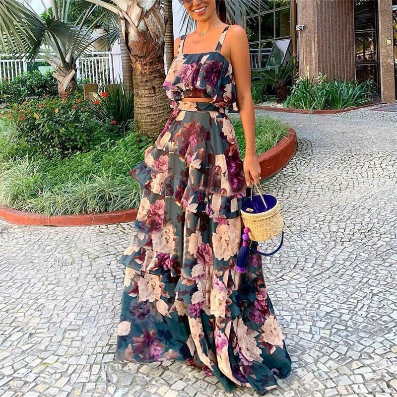 Sexy Printed Colour Sling Two Piece High Waist Dress