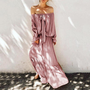 Sexy Boat Neck Bare Back Off-Shoulder Belted Casual Dress