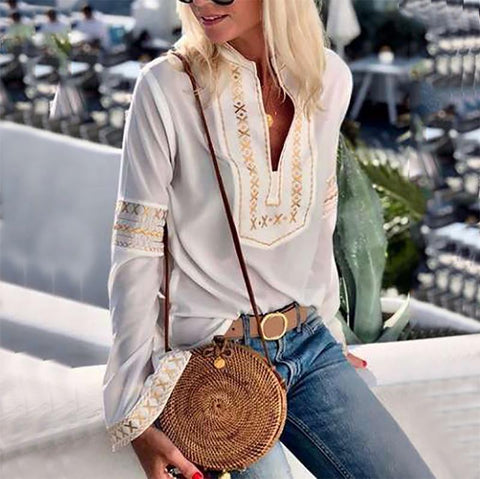 Casual Long Sleeve Splicing Printed Colour Top Blouse