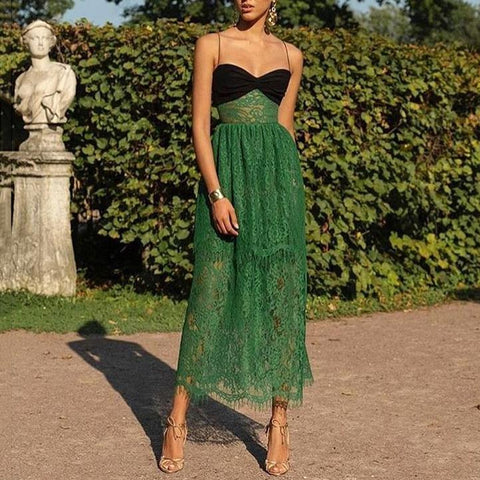 Lace Sexy Tube Top Strap Vacation Maxi Dress