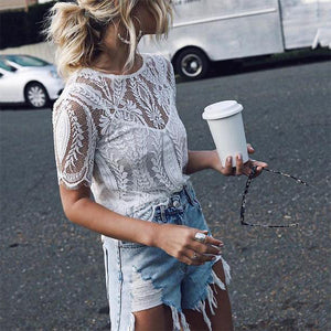 Sexy Short Sleeve See-Through Two-Piece Lace Top