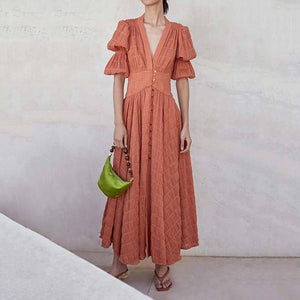 Elegant V Neck Bishop Sleeve Pleated Pure Colour Maxi Dress