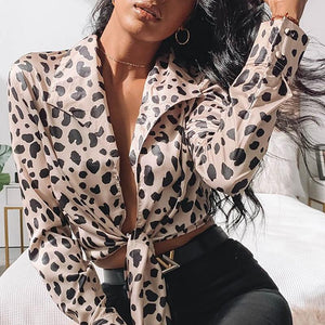 Sexy V Neck Long Sleeve Leopard Print Belted Blouse