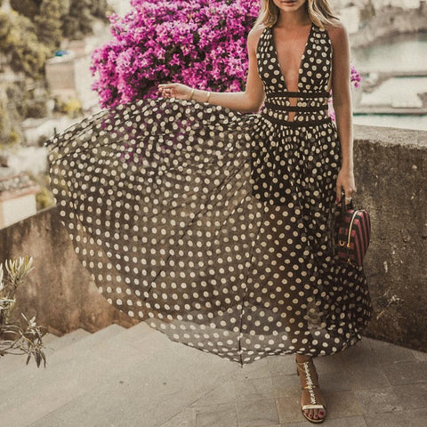 Sexy V Neck Polka Dot Splicing See-Through Dress