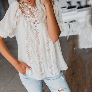 Classy Splicing Lace See-Through Short Sleeve Shirt