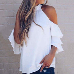 Classy Off-Shoulder Ruffled Pure Colour Blouse