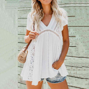 Elegant V Neck Short Sleeve Hollow Out Splicing Casual Dress