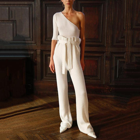 Classy Sloping Shoulder Waist Design Jumpsuit