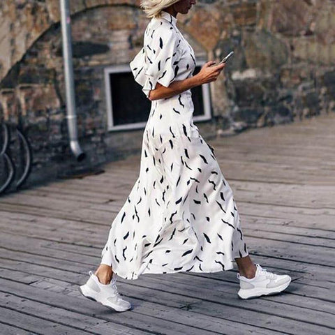 Fashion Stand Collar Printed Colour Lotus Sleeve High-Waist Dress
