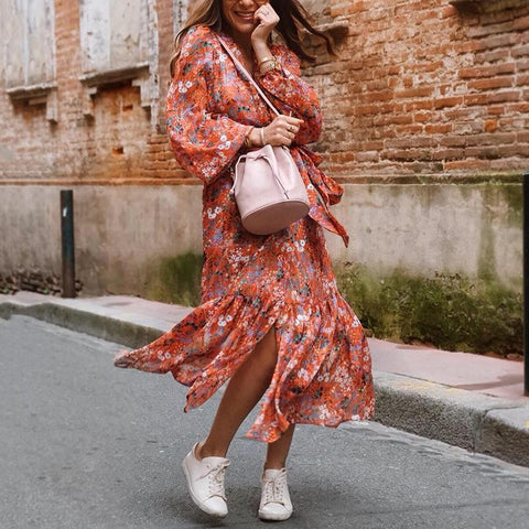 Women's Floral Print Long Sleeve Dress