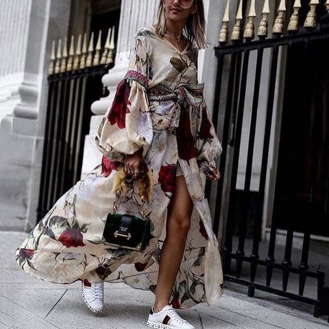 Bohemian Floral Pattern Bubble Sleeves V Neck Slit Loose Dress