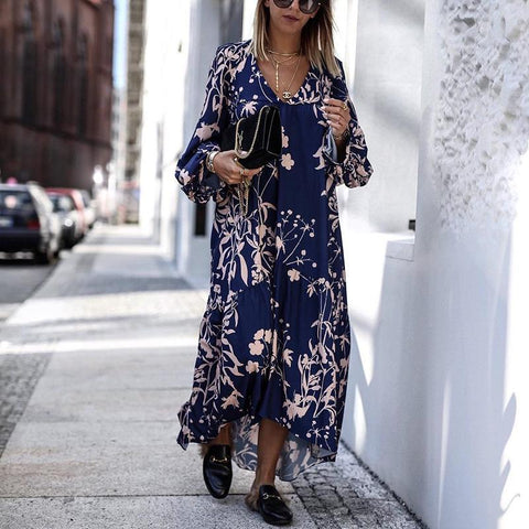Bohemian V Neck Printed Colour Loose Long Sleeve Dress