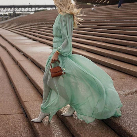 Elegant Chiffon Pure Colour Long Sleeve Loose Evening Dress